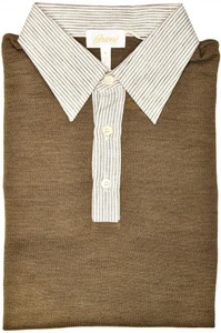 Brioni Sweater Polo Silk Linen Size Medium Brown White