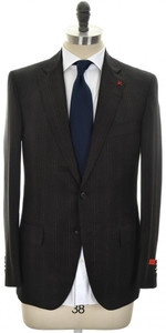 Isaia Suit 'Sanita' 2B Wool 140's Size 46 Brown Stripe