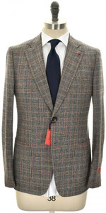 Isaia Suit 'Capri' 2B Wool Saxony Size 40 Gray Brown Plaid