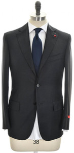 Isaia Suit 'Base S' 3B Wool Aquaspider Size 36 Dark Gray