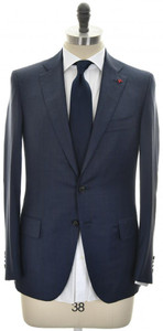 Isaia Suit 'Sanita' 2B Wool 140's Size 40 Blue Stripe