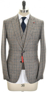 Isaia Suit 3-Piece 'Gregory' 2B Wool Size 38 Gray Brown Plaid