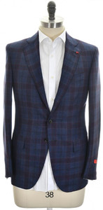 Isaia Sport Coat Jacket 'Sanita' 2B Wool Cashmere Size 42 Blue