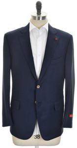 Isaia Sport Coat Jacket 'Base S' 2B Wool 130's Size 44 Short Blue