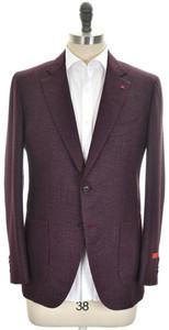 Isaia Sport Coat Jacket 'Sailor' 2B Wool Silk Size 42 Plum Purple