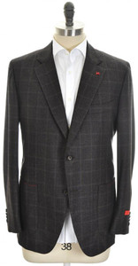 Isaia Sport Coat Jacket 'Sailor' 2B Wool 120's Size 46 Brown