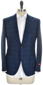 Isaia Sport Coat Jacket 'Enis' 2B Wool 120's Size 38 Blue Plaid