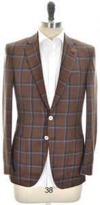Isaia Sport Coat Jacket 'Sanita' 2B Wool Silk Size 38 Brown Blue
