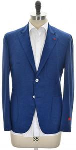Isaia Sport Coat Jacket 'Pompei' 2B Wool Silk Size 40 Blue