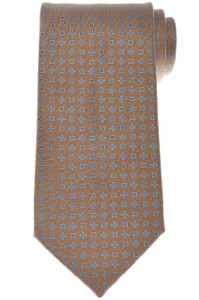 Charvet Tie Silk 56 3/4 x 3 1/2 Brown Blue Geometric 12TI0116