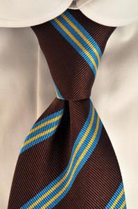 Luigi Borrelli Napoli Tie Silk 58 1/4 x 3 1/4 Brown Stripe 05TI0171