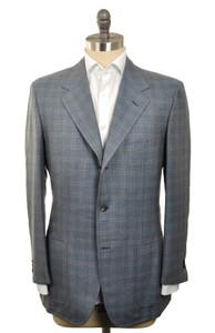 d'Avenza Sport Coat 3B Cashmere 1/4 Lined 40 50 Blue Gray Plaid 37SC0105