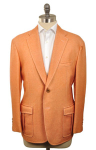 d'Avenza Sport Coat 2B Centr Vent Wool Unlined 44 54 Orange Solid