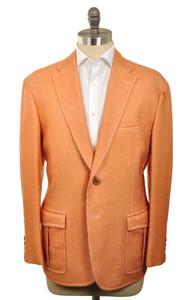 d'Avenza Sport Coat 2B Wool Unlined 44 54 Orange Solid 37SC0104