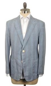 d'Avenza Sport Coat 2B Cotton 1/4 Lined 40 50 Blue Plaid 37SC0102