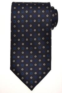 E. G. Cappelli Napoli Tie Silk 58 1/2 x 3 5/8 Blue White Geometric 08TI0109