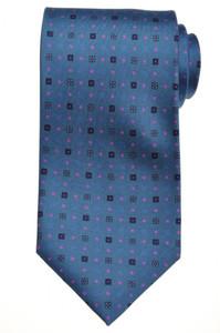 E. G. Cappelli Napoli Tie Silk 58 x 3 5/8 Blue Fuschia Geometric 08TI0105