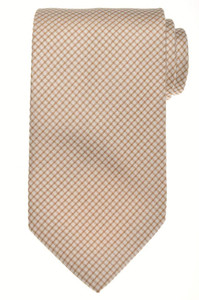 E. Marinella Napoli Tie Silk 57 x 3 5/8 Brown White Geometric 07TI0113
