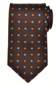 E. Marinella Napoli Tie Silk 57 3/4 x 3 5/8 Brown Blue Geometric 07TI0111