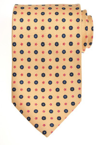 E. Marinella Napoli Tie Silk 57 1/2 x 3 5/8 Yellow Blue Geometric 07TI0093