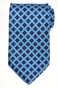 E. Marinella Napoli Tie Silk 57 x 3 1/2 Blue Brown Geometric 07TI084