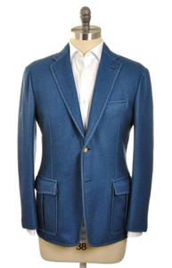 d'Avenza Sport Coat 2B Washed Wool 40 50 Blue Melange 37SC0110