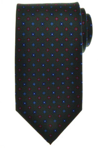 E. G. Cappelli Napoli Tie Silk 59 x 3 5/8 Green Blue Red Geometric 08TI0113