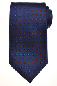 E. G. Cappelli Napoli Tie Silk 59 x 3 5/8 Blue Red Green Geometric 08TI0097