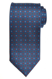 E. G. Cappelli Napoli Tie Silk 58 3/4 x 3 5/8 Blue Orange Geometric 08TI0089
