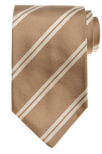 E. Marinella Napoli Tie Silk 57 1/2 x 3 3/4 Brown White Stripe 07TI0122