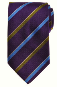 E. Marinella Napoli Tie Silk 58 1/4 x 3 5/8 Purple Blue Stripe 07TI0119