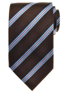 E. Marinella Napoli Tie Silk 57 3/4 x 3 5/8 Brown Blue Pink Stripe 07TI0127