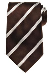 E. Marinella Napoli Tie Silk 57 1/2 x 3 3/4 Brown Gray Stripe 07TI0130