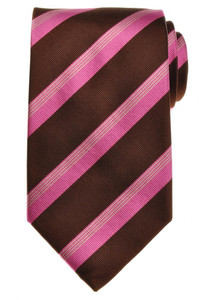 E. Marinella Napoli Tie Silk 57 1/4 x 3 5/8 Brown Pink Gray Stripe 07TI0129
