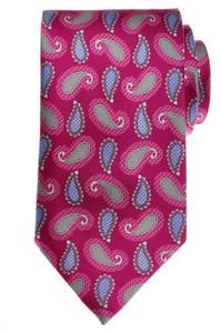 Brioni Tie Silk 59 1/4 x 3 1/4 Pink Gray Purple Paisley