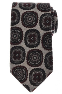 Luigi Borrelli Napoli Tie Wool 58 1/2 x 3 1/4 Gray Black Medallion 05TI0280