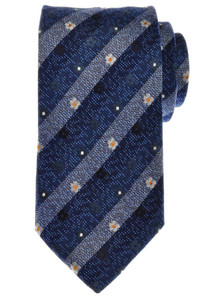 Battisti Napoli Tie Silk 59 3/4 x 3 1/4 Blue Gray Orange Stripe 41TI0105