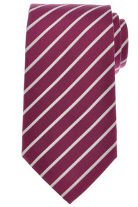 Ermenegildo Zegna Tie Silk 58 3/4 x 3 1/2 Plum Purple White Stripe 10TI0135