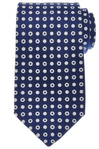 Ermenegildo Zegna Tie Silk 58 x 3 3/8 Blue White Circle Geometric 10TI0131