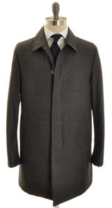 Isaia Napoli 3/4 Overcoat Coat Wool 48 Small Gray Solid