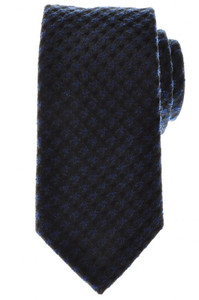 Battisti Napoli Tie Silk Wool 58 x 3 3/8 Blue Black Check 41TI0109