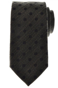 Battisti Napoli Tie Silk Wool 59 x 3 1/4 Green Black Polka Dot 41TI0108