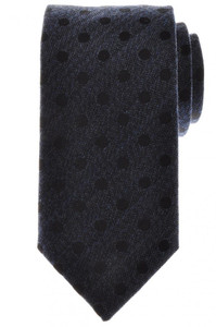 Battisti Napoli Tie Silk Wool 59 x 3 1/4 Blue Black Polka Dot 41TI0107