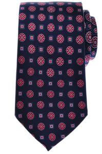 Brioni Tie Silk 59 1/2 x 3 1/4 Blue Red White Varying Geometric 03TI0475