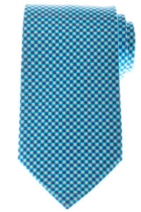 Ermenegildo Zegna Tie Silk 58 1/4 x 3 1/4 Blue Turquoise Geometric 10TI0182