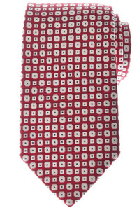 Ermenegildo Zegna Tie Woven Silk 57 1/2 x 3 1/8 Red Geometric 10TI0183