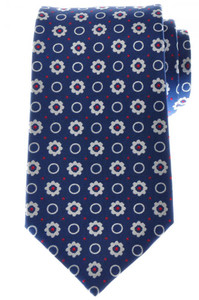 Ermenegildo Zegna Tie Silk 57 1/4 x 3 3/8 Blue Red White Geometric 10TI0140