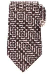 Ermenegildo Zegna Tie Silk 57 1/2 x 3 1/2 Brown Pink Geometric 10TI0155