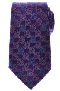 Ermenegildo Zegna Tie Silk 57 3/4 x 3 1/2 Purple Blue Geometric 10TI0153