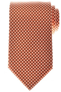 Ermenegildo Zegna Tie Silk 58 x 3 1/4 Orange Brown White Geometric 10TI0150